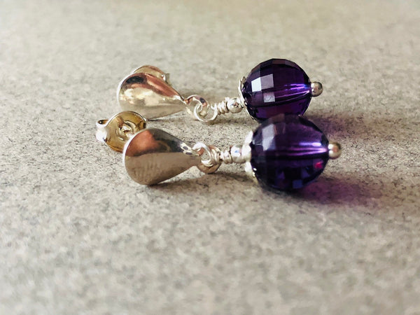 Genuine Amethyst Sterling Silver Earrings, Amethyst Purple Earrings, Purple Sterling Silver Earrings