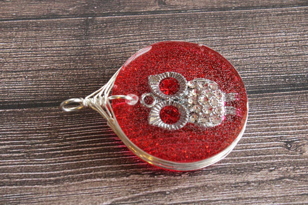 Red Silver Owl Resin Pendant, Red Owl necklace, Resin red Jewelry