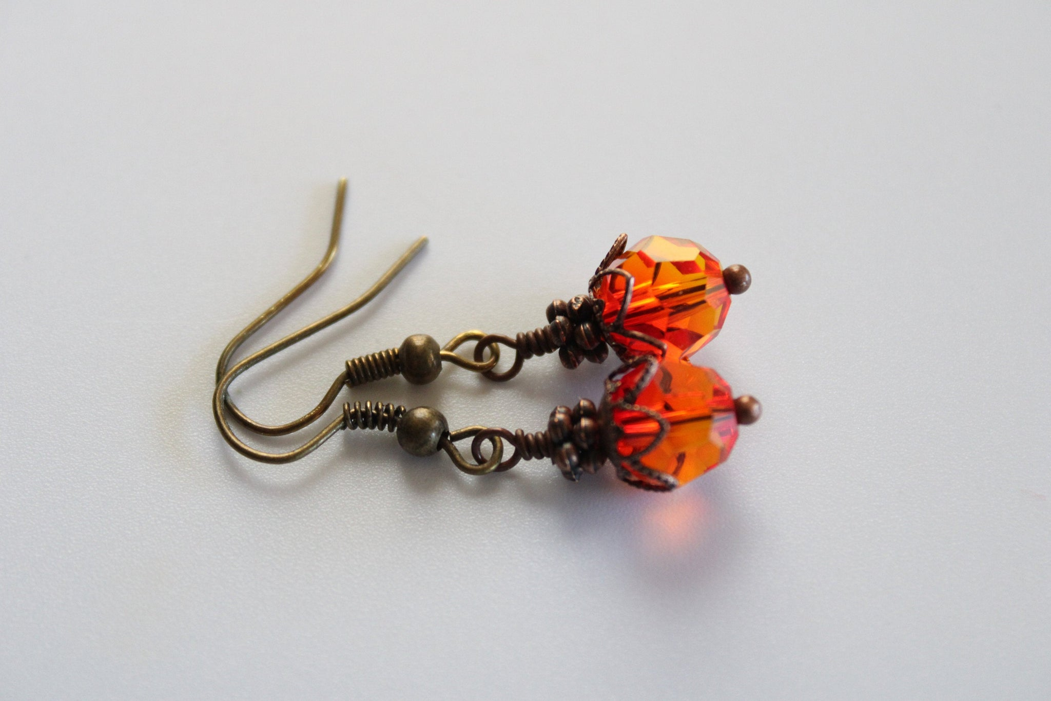 Orange Earrings, Wire Wrapped Earrings, Bright Orange Drop Earrings, Beaded Earrings, Dangle Earrings, Orange Jewelry