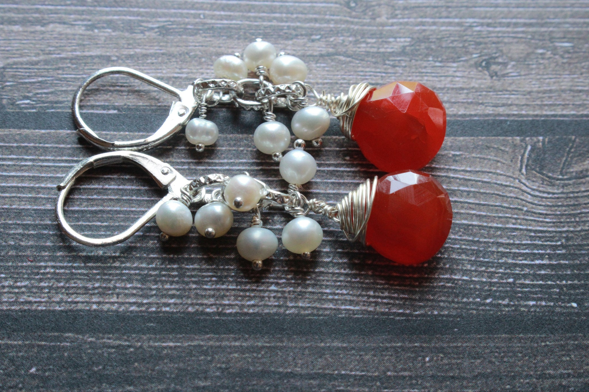 Carnelian wire wrapping earrings, Carnelian gemstone earrings, orange gemstone earrings
