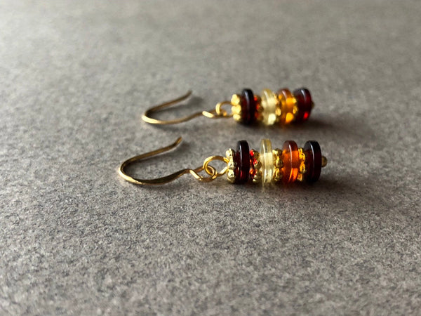 Amber Coin Earrings, Amber Gemstone Jewelry