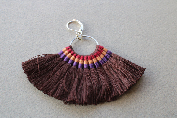 Tassel Dangle Earrings Fringe Boho Bohemian Earrings Tribal Statement