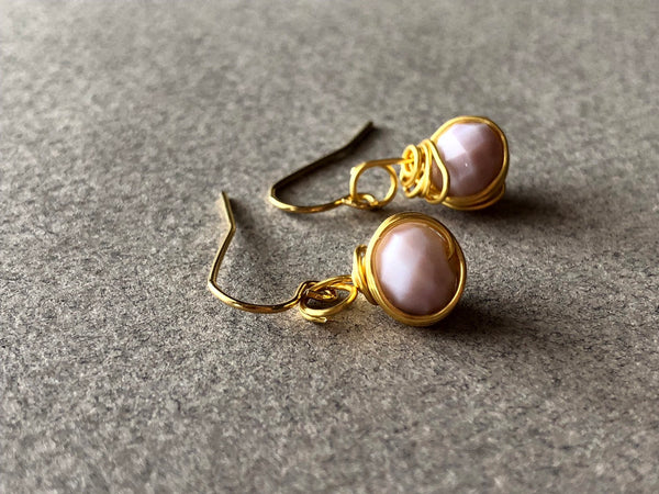 Pink Gold Wire Wrapped Earrings, Pink Earrings, Pink Jewelry