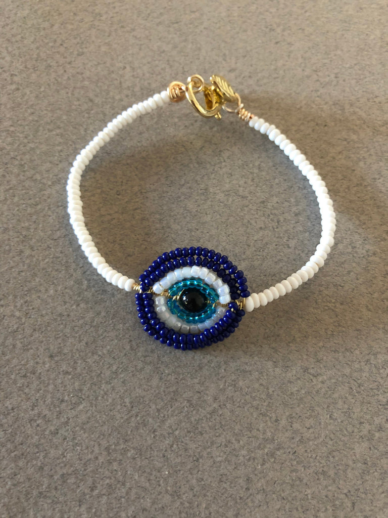 Blue evil eye bracelet, blue stretching bracelet, blue crystal bracelet, blue and white bracelet, blue eye bracelet, evil eye bracelet