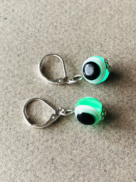 Green Evil Eye crystal earrings, Green Earrings, Sparkly Green earrings, Green eye Earrings