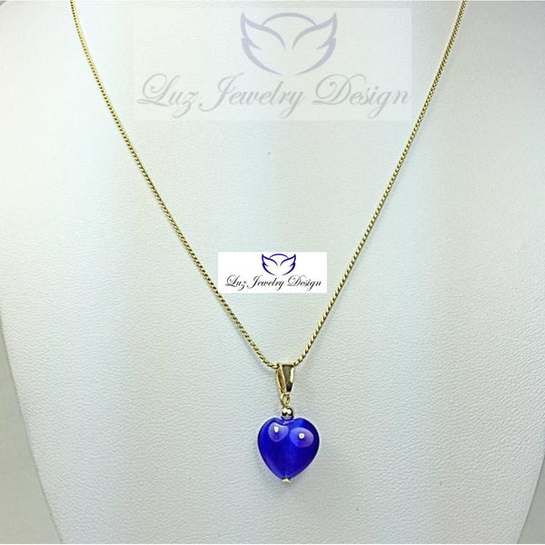 Blue Heart Necklace - Luzjewelrydesign   - 2