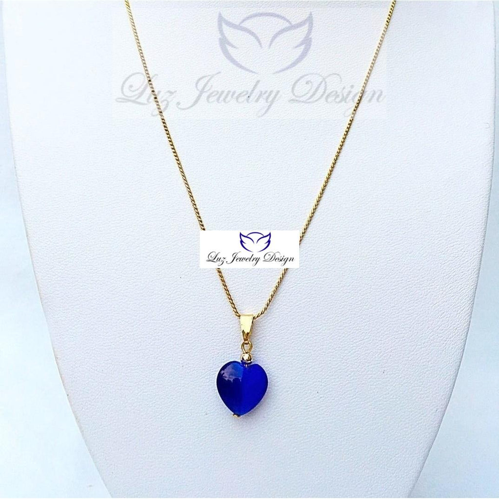 Blue Heart Necklace - Luzjewelrydesign   - 1