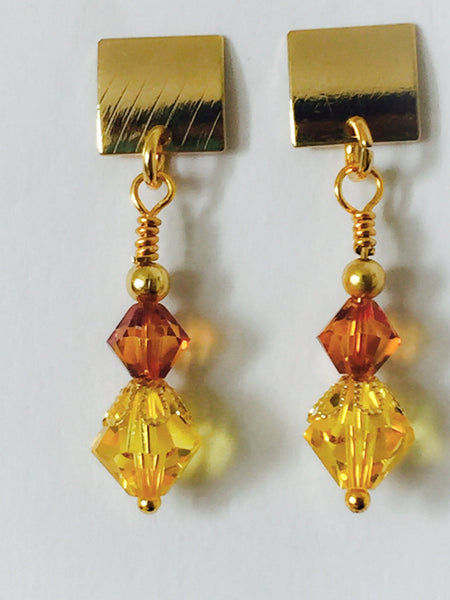 Yellow Swarovski earrings, 18k gold plated earrings, yellow earrings, Swarovski earrings, yellow crystal earrings,