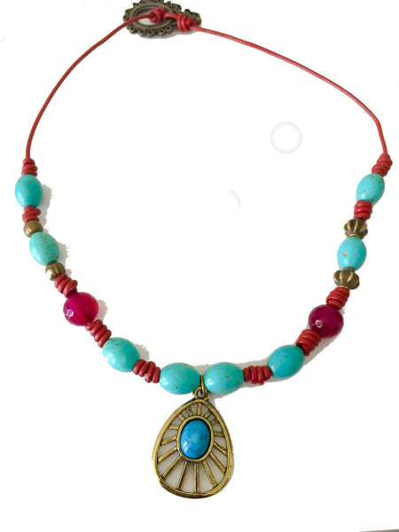 Red boho turquoise necklace, boho turquoise necklace, leather turquoise necklace, turquoise necklace, red agate necklace - Luzjewelrydesign