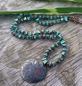 Boho necklace-turquoise - handcrafted Jewelry Luzjewelrydesign