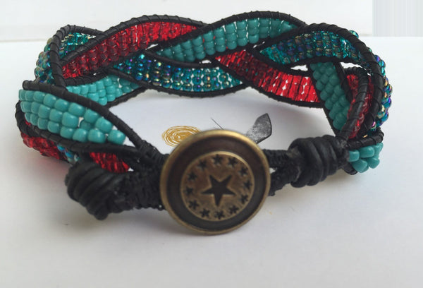 Leather bracelet, braided cuff, bohemian bracelet - handcrafted Jewelry Luzjewelrydesign