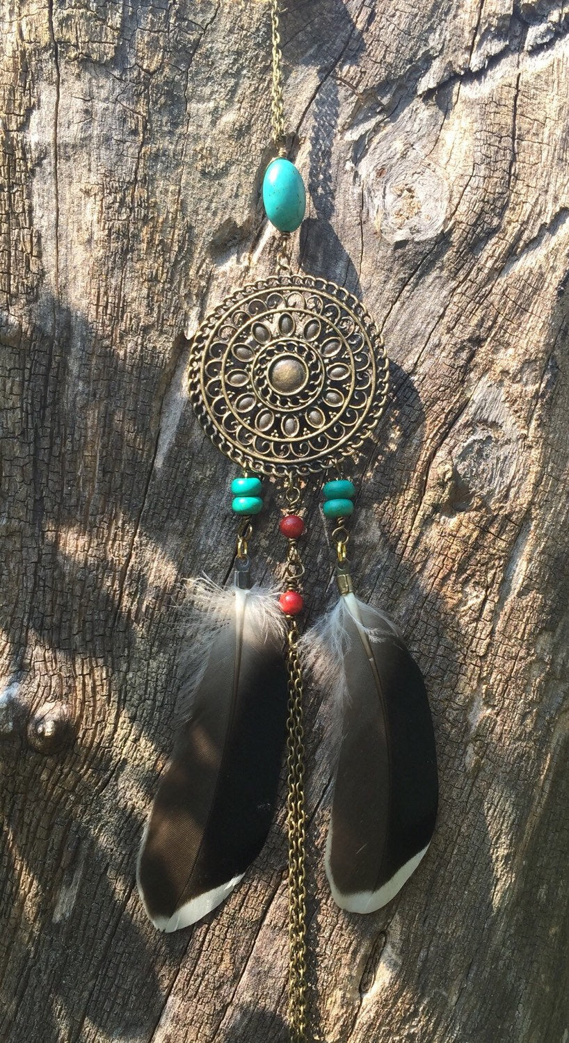 Native American Inspired Chain Necklace-Bohemian Feather Necklace - handcrafted Jewelry Luzjewelrydesign