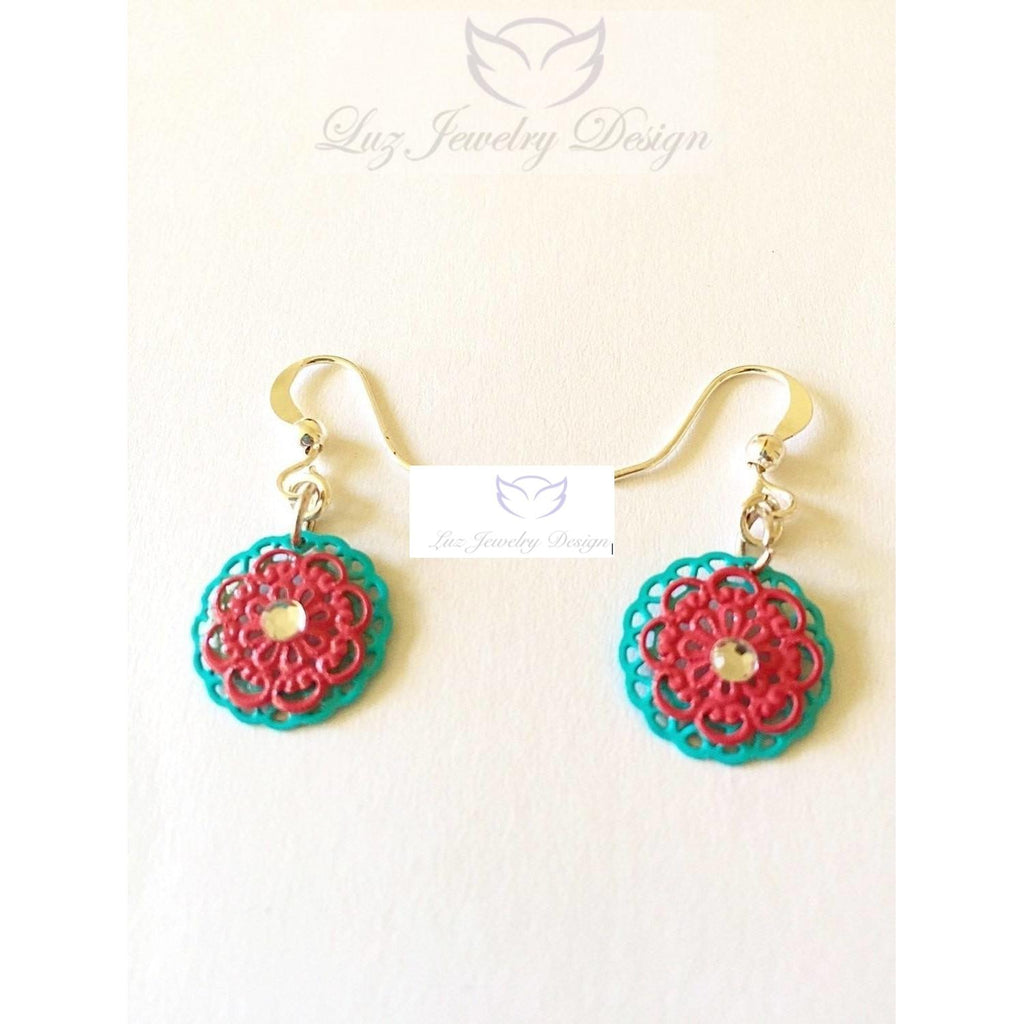 Blue and red earrings - Luzjewelrydesign   - 1