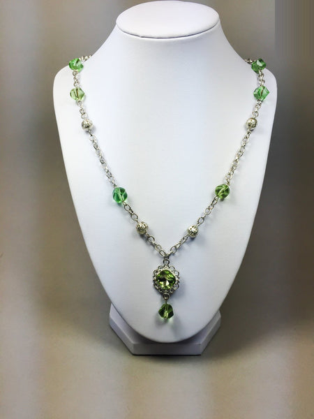 Green necklace, lime green necklace, silver necklace, peridot necklace, Green Swarovski necklace, Crystal necklace