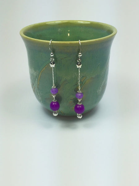 Purple earrings - dangle purple earrings - long purple earrings - lilac earrings - purple jewelry - Luzjewelrydesign
