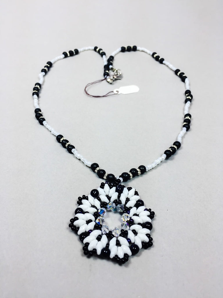Super duo necklace, black and white necklace, beaded necklace, handmade necklace