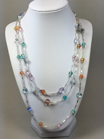 Multicolored necklace, color necklace, triple strand necklace, crystal necklace, beaded necklace, summer necklace - Luzjewelrydesign
