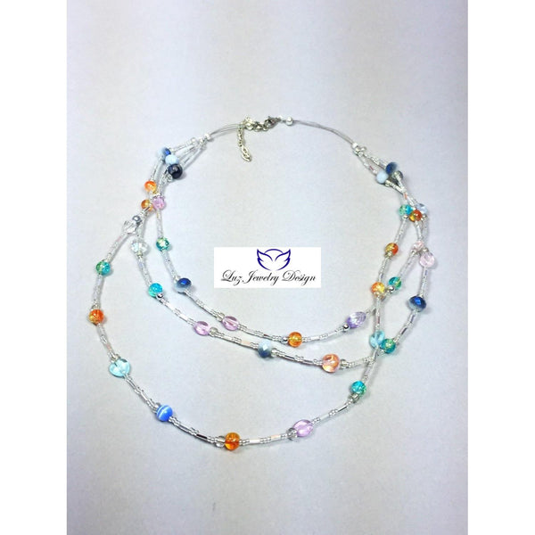 Multicolored necklace, color necklace, triple strand necklace, crystal necklace, beaded necklace, summer necklace - handcrafted Jewelry Luzjewelrydesign