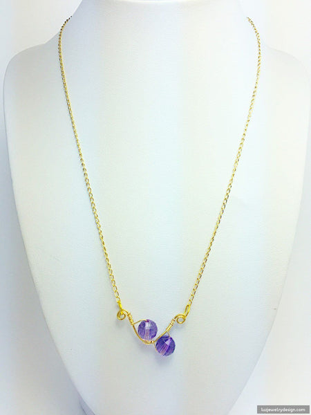 18k Gold Plated Amethyst Necklace - handcrafted Jewelry Luzjewelrydesign