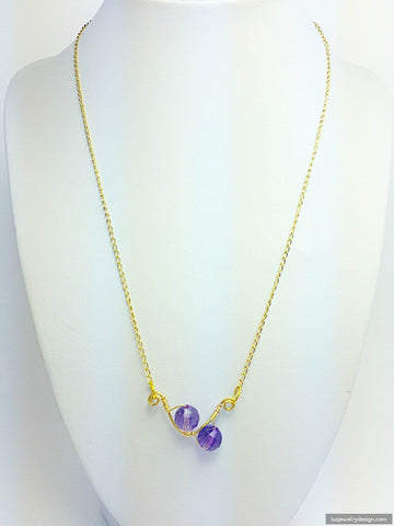 18k Gold Plated Amethyst Necklace