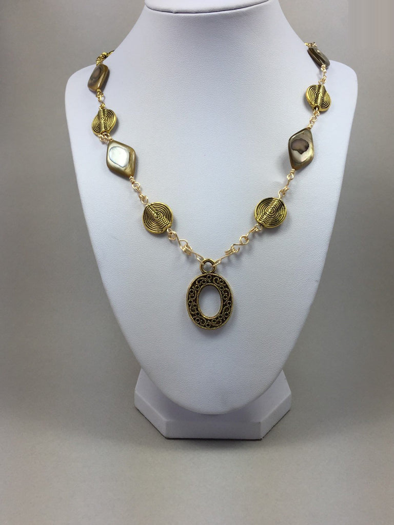 Gold mother pearl shell wire wrapping necklace,  gold shell wire wrapping jewelry,  gold necklace, wire wrapping necklace