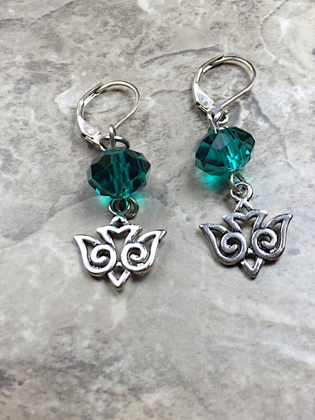 Silver Bird Earrings, Women's Jewelry, Peace Dove Earrings, Green Earrings, Bird Jewellery, Cute Bird Earrings, Dove Earrings, dove dangl