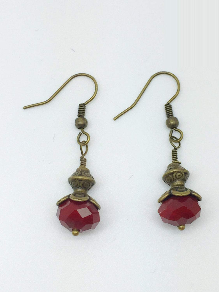 Dark Red Maroon Tribal Brass Earrings, Maroon Red Brass Bohemian Jewelry