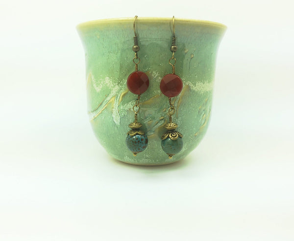 Carnelian Turquoise brass earrings, Brass carnelian earrings, Turquoise brass dangle, long brass earrings