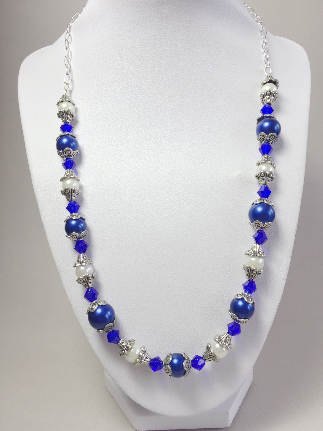 Blue and White pearl necklace, Blue pearl necklace, White pearl necklace, indigo blue necklace