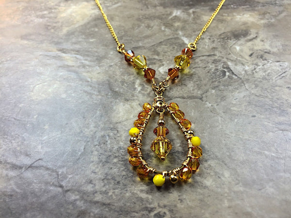 Yellow Swarovski necklace/Yellow gold necklace/Autumn necklace, yellow necklace, Crystal necklace, yellow jewelry/orange and yellow