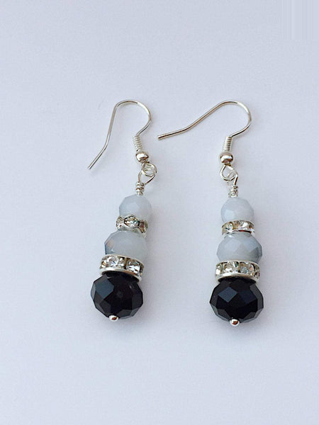 White black earrings, black white earrings, speckled earrings, simple black studs, black white dangles, white earrings black