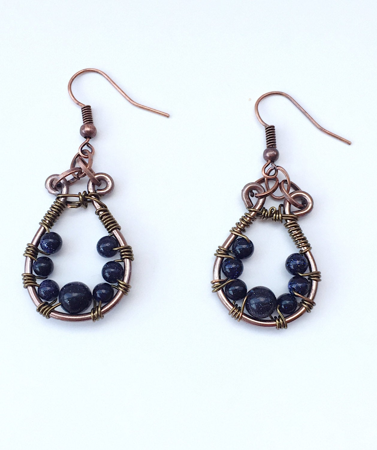 Wire wrapping earrings, boho brass dangle, wire wrapping, wire jewelry, antique brass wire, blue goldstone earrings, goldstone dangle