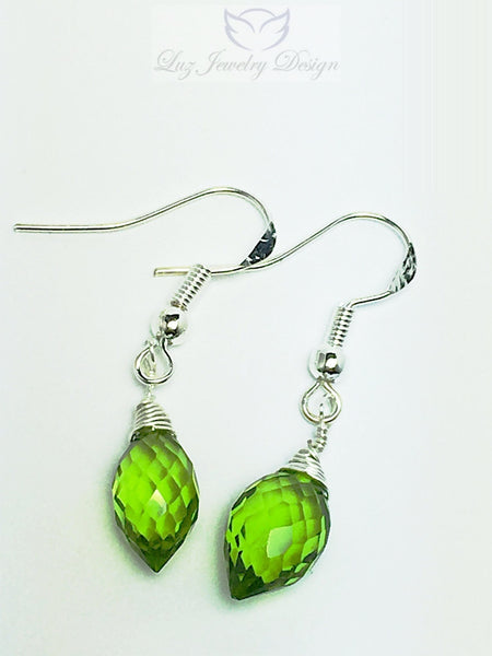 Lime green peridot AAA Quartz earrings - handcrafted Jewelry Luzjewelrydesign