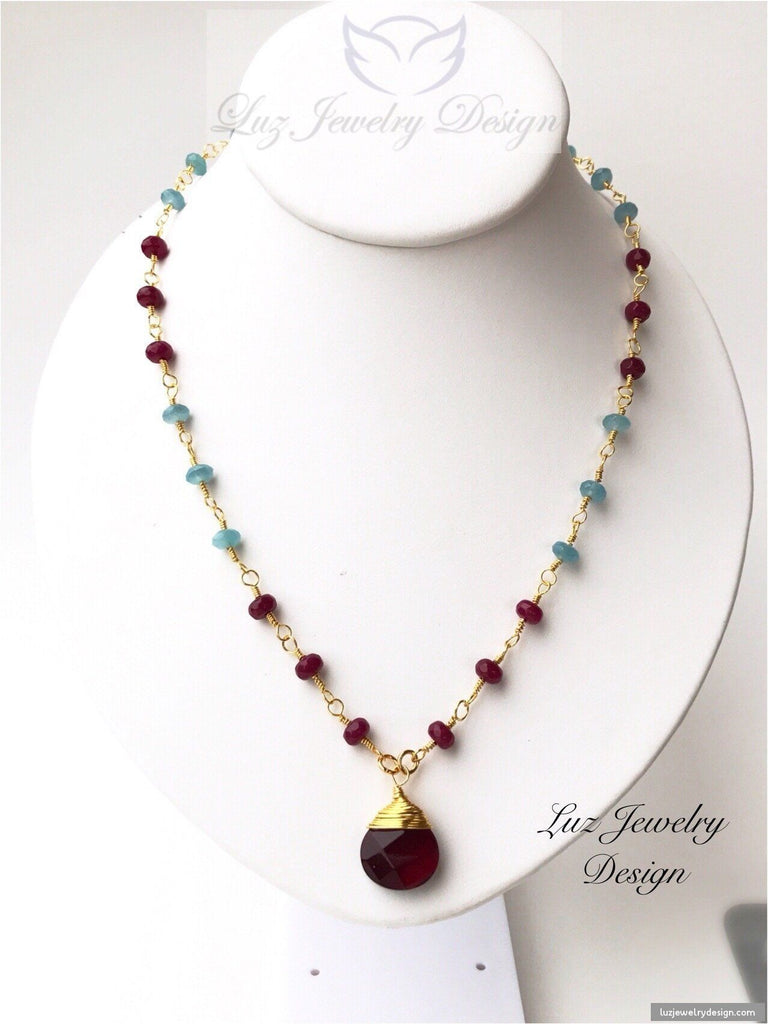 Aquamarine Red Ruby Agate 18k Gold Fill Wire Wrapping Necklace