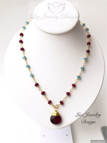 Aquamarine and red ruby agate wire wrapping necklace