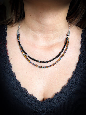 Brown and black necklace - handcrafted Jewelry Luzjewelrydesign