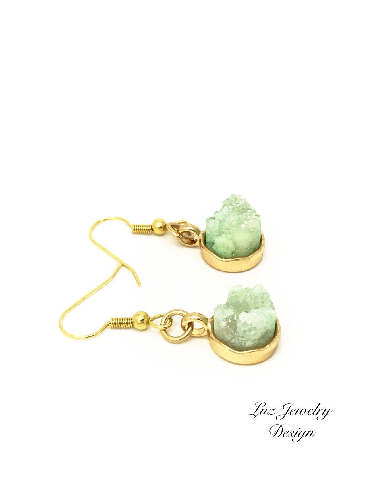 Mint Green Druzy Earrings, gold plated earrings - handcrafted Jewelry Luzjewelrydesign