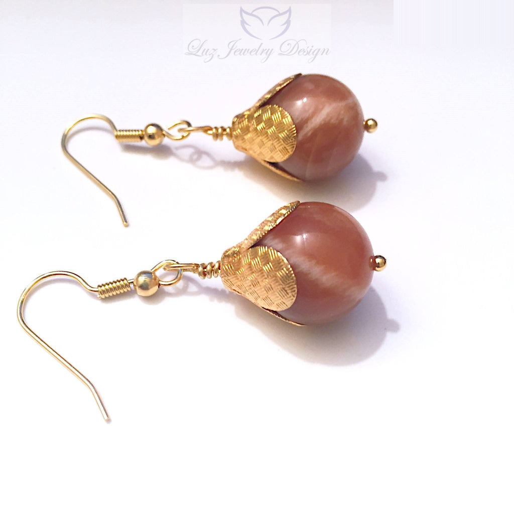 Brown moonstone earrings - Luzjewelrydesign   - 1