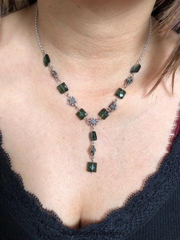 Green amethyst necklace, - handcrafted Jewelry Luzjewelrydesign