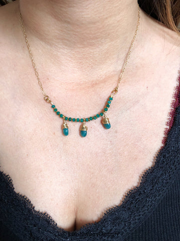 Green jade gold fill necklace - handcrafted Jewelry Luzjewelrydesign