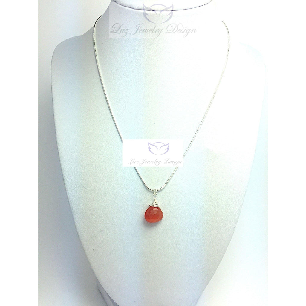 Sterling silver wire wrapping carnelian necklace - Luzjewelrydesign   - 1