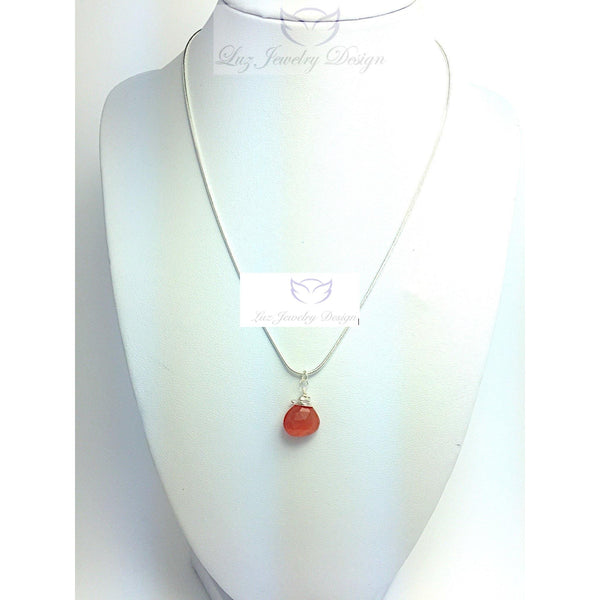 Sterling silver wire wrapping carnelian necklace - Luzjewelrydesign