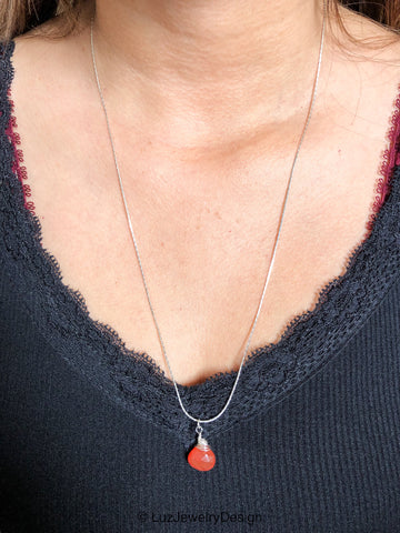 Sterling silver wire wrapping carnelian necklace