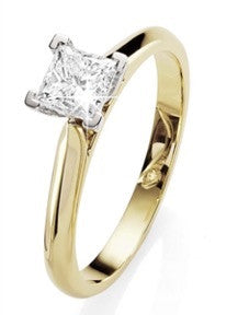 18ct YG 0.50ct Princess Cut Solitaire Diamond Ring