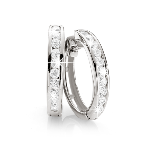 Sterling Silver channel-set white cubic zirconia channel huggies
