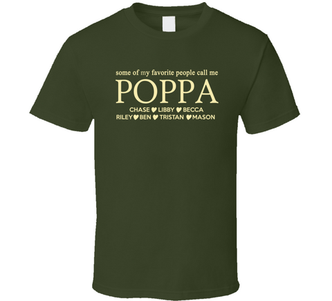 Poppa T Shirt with Grand Kids names - Original James Tee