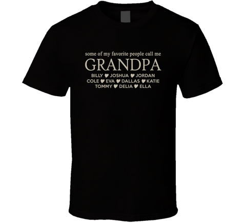 Grandpa T Shirt with Grandkid's Names - Original James Tee  - 1