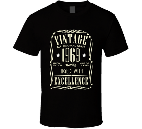 Born in 1969 turning 50 years old Vintage style milestone T Shirt - Original James Tee