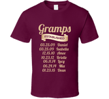 Gramps Established Grandfather Since T Shirt Gift with names - Original James Tee  - 1