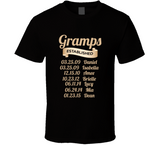 Gramps Established Grandfather Since T Shirt Gift with names - Original James Tee  - 2